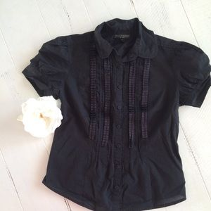 Black Ruffle Button Down Shirt